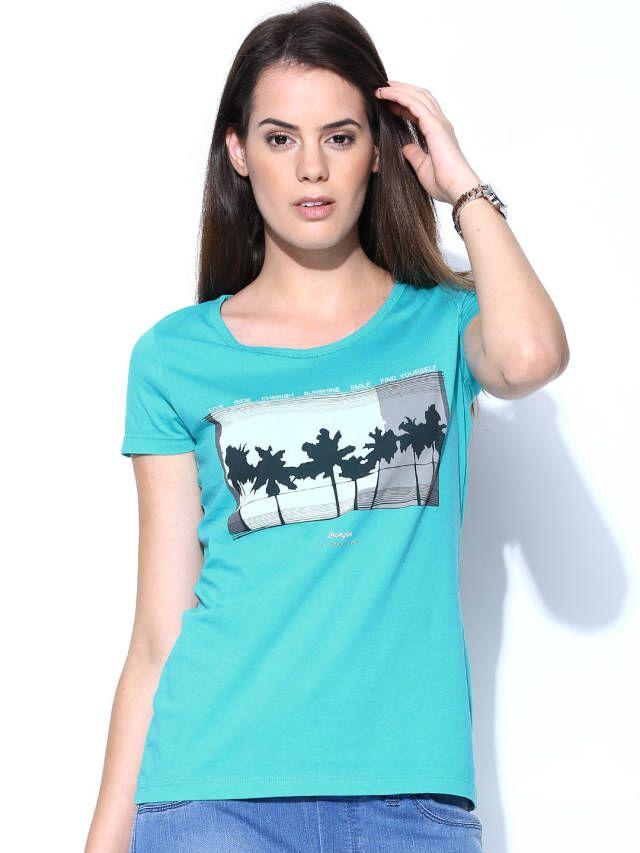 Wrangler Women Turquoise Blue Printed T-shirt