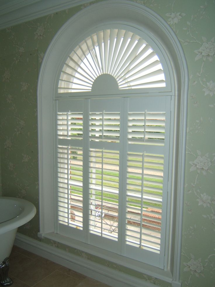 Perfect plantation shutter with arch window