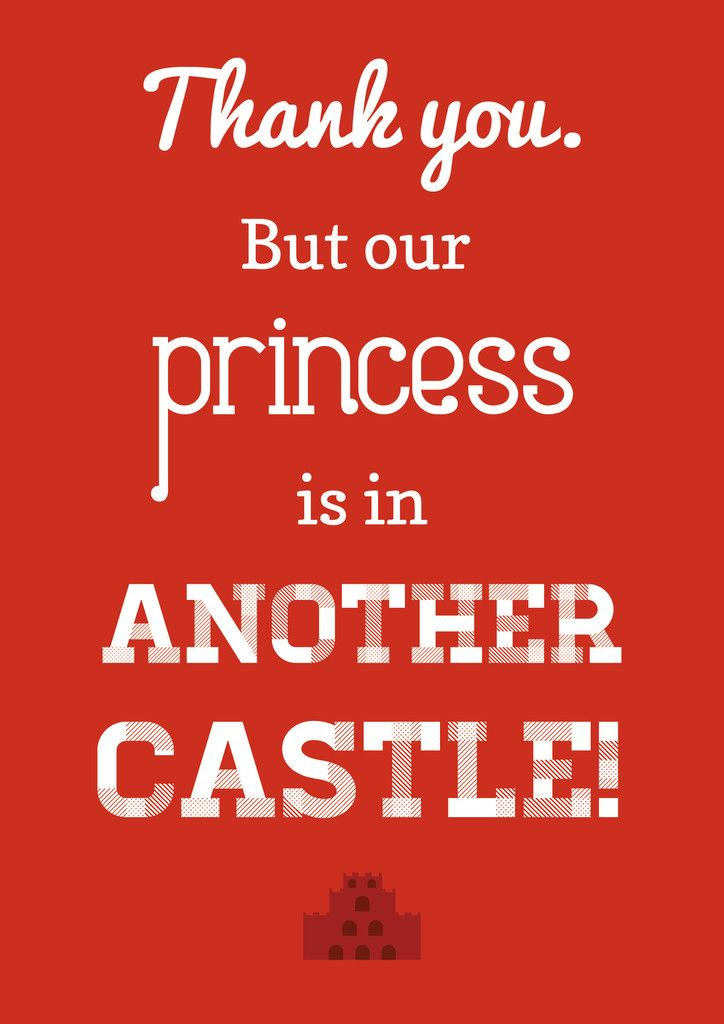 Thank You. But our Princess is In Another Castle!