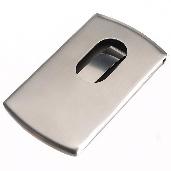 H, Stainless Steel Name Business Credit Card Holder Case