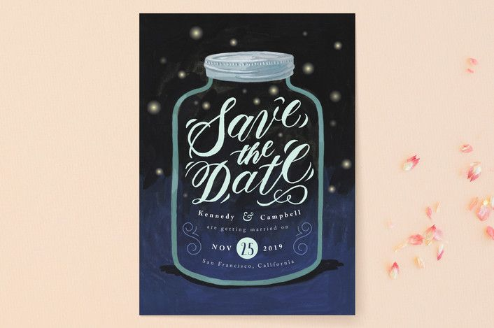 """Firefly Mason Jar"" - Whimsical & Funny Save The Date Cards in Midnight by Four Wet Feet Studio."