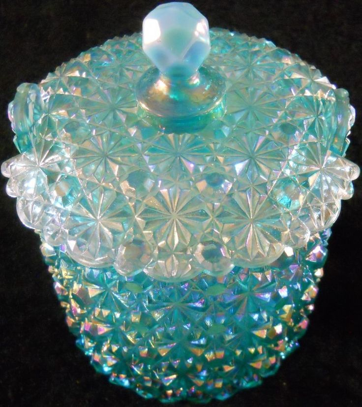 "Fenton Glass Blue Carnival Candy Dish w/Lid Daisy Button 4"" high"