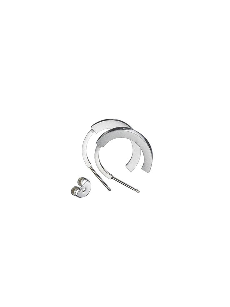 Earring 'Phase' L Silver  http://www.theboyscouts.nl/product/earring-phase-l-pair-silver