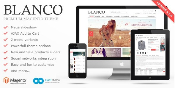 Blanco is clear, easy to customize Magento template. Many new features such as 2 menu variants, powerful admin module, slideshow, new products display on homepage, extra links and blocks and so on. This Magento template is one of the most powerful and flexible templates at Magento store.    The template is fully compatible with heavy stores which have a variety of languages and currencies to create convenience for customers around the world. It's designed to easily change color and…