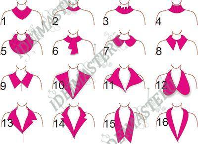 1-Капот 2-Стойка 3-Волан 4-Гольф(трикотаж) 5-Хомут 6-Бант-галстук 7-А ля Питер Пен(плосколежащий) 8-Рубашечный остроконечный(на стойке) 9- Плосколежащий 10-Матросский 11-Апаш 12-Уши-воротник 13-Английский-классический 14-Пиджачный-классический 15-Челси 16-Шалька