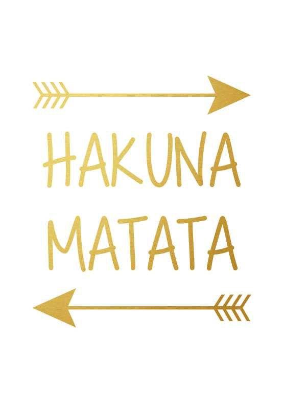 Hakuna Matata Disney Lion King Poster, Black Gold Wall Art Nursery Print Decor Kids Room Printable Home Decor A3 8×10 Kids Poster