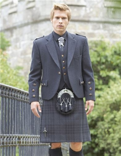 Grey Kilt - But def no ruffle tie...yuk!  Oh and wasn't this model in Hollyoaks??