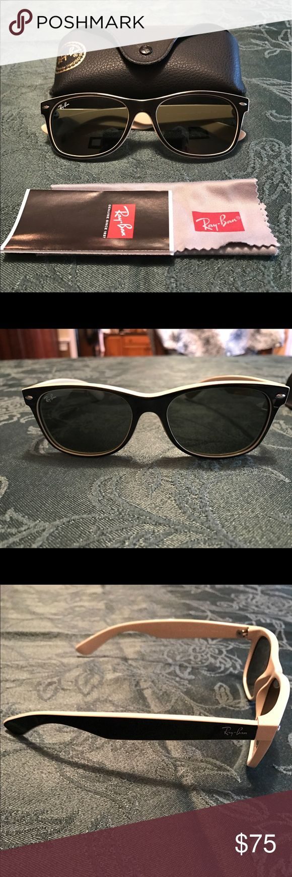 Ray Ban Wayfarer Sunglasses (Black & Tan) Gently used, excellent condition! Comes with original case and cleaning cloth. Ray-Ban Accessories Sunglasses