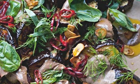 Yotam Ottolenghi's aubergine with black garlic recipe: ' I'd love black garlic to be more widely available'. Photograph: Jonathan Lovekin for the Guardian
