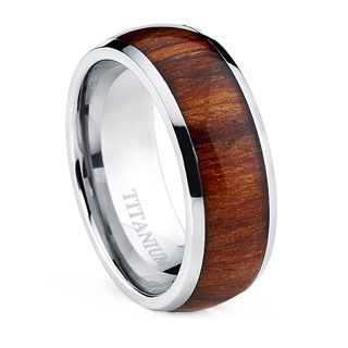 Stainless Steel Men's Wood Inlay Ring | Overstock.com Shopping - The Best Deals on Men's Rings