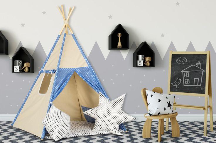 Namiot Tipi Wigwam ZESTAW  - Dream-zzz - Wystrój pokoju dziecięcego