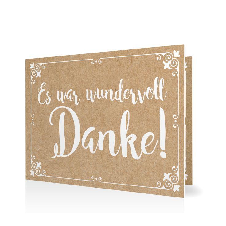 Dankeskarte Traumhafter Text in Weiss - Klappkarte flach #Hochzeit…