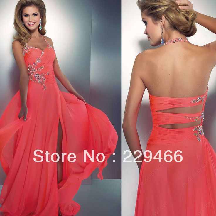 Al1550 Halter Beaded Coral Color Slit  Style Long Open Back Long Sexy Prom Dresses Designers  Latest Fashion 2014 3040,40 руб.