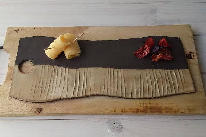 Ceramic Cheese Board, Modern Cutting Board, Black Platter, Cheese Platter, Modern Serving Tray, Ceramic Sushi Tray, Beige Pottery Platter by DesignsByViviShop on Etsy https://www.etsy.com/uk/listing/533484441/ceramic-cheese-board-modern-cutting