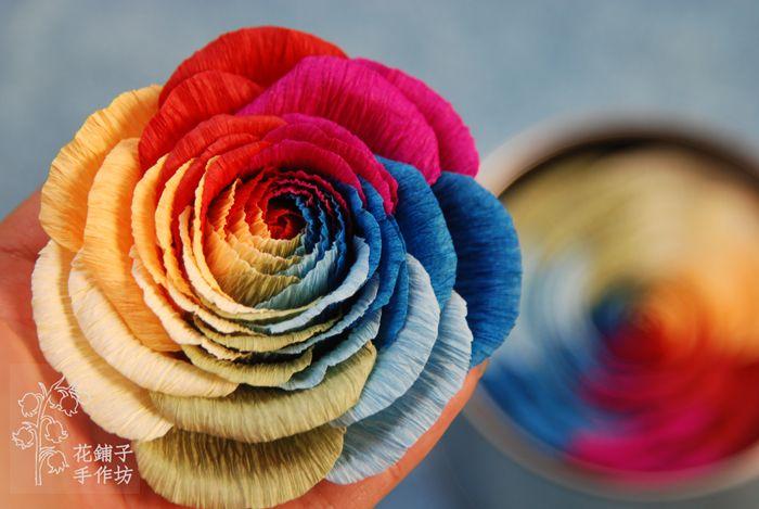 rainbow rose paper flower