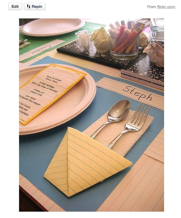back to school: Tables Sets, Back To Schools, Dinners Party, School Parties, Schools Breakfast, Party Idea, Schools Party, Schools Themed, Backtoschool