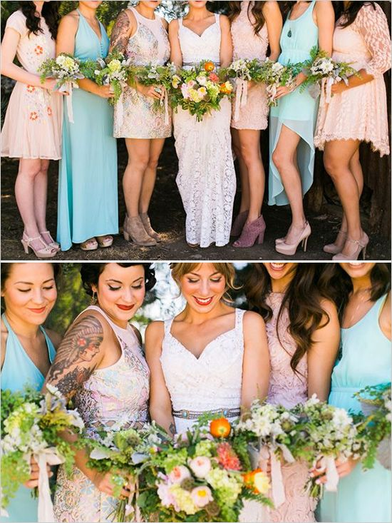 Mismatched bridesmaids dresses and shoes for eclectic wedding. Captured By: Jen Rodriguez ---> http://www.weddingchicks.com/2014/05/26/bacon-and-eggs-picnic-wedding-reception/