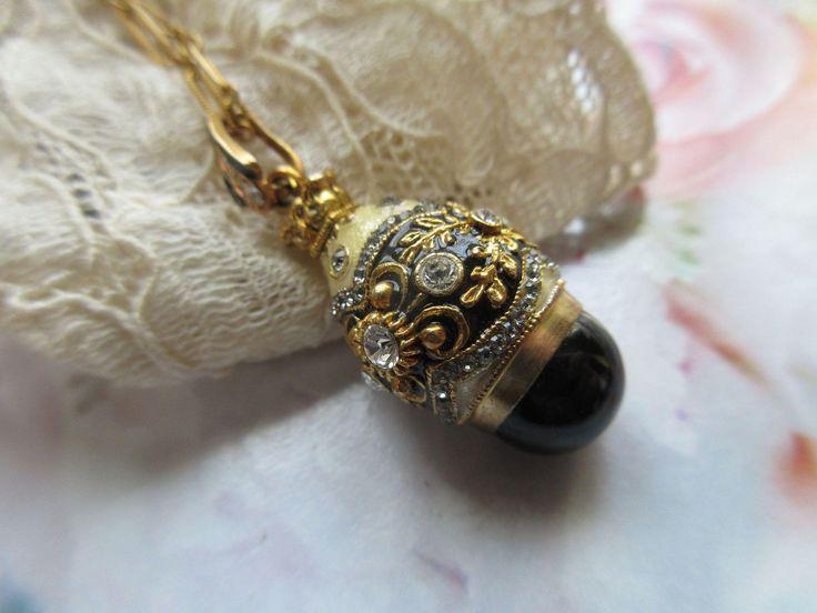 Vintage Enameled Crystal Egg Necklace