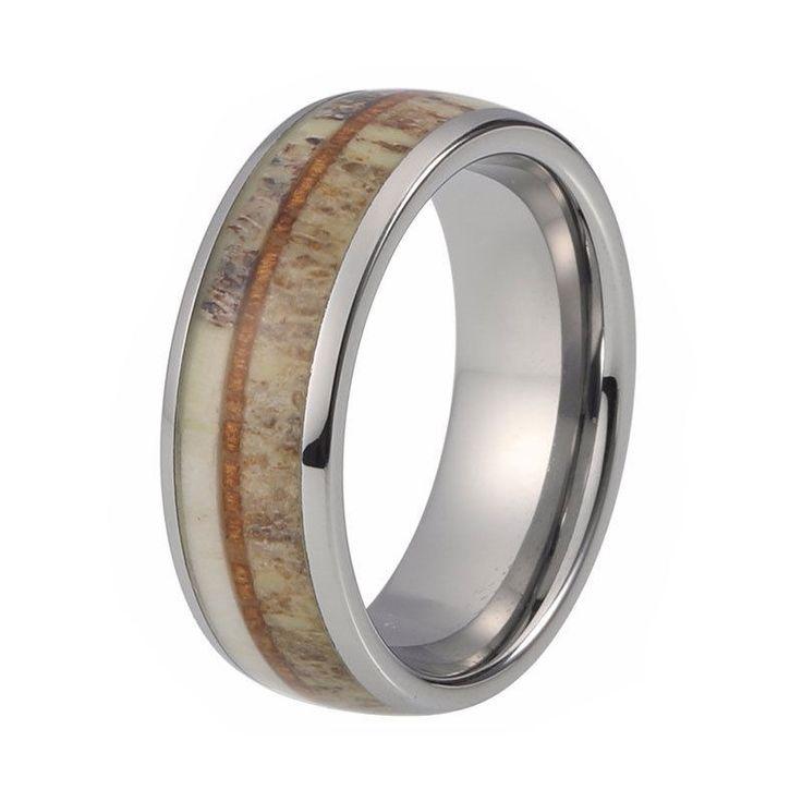 Mens Deer Antler Ring Tungsten Wedding Band With Koa Wood Inlay #Band