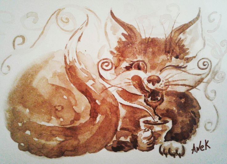 """Coffee time"" Size: 30x21 cm. 2017 #painting #coffee #art #cat #живопись #coffee_art #кофейная_гризайль #café #artist #creative #kahvi #coffee_time #кофейная_акварель #cup #caife #живопись_кофе #kaffe #jacobs #inspiration #jacobs_monarch #AneK_art"