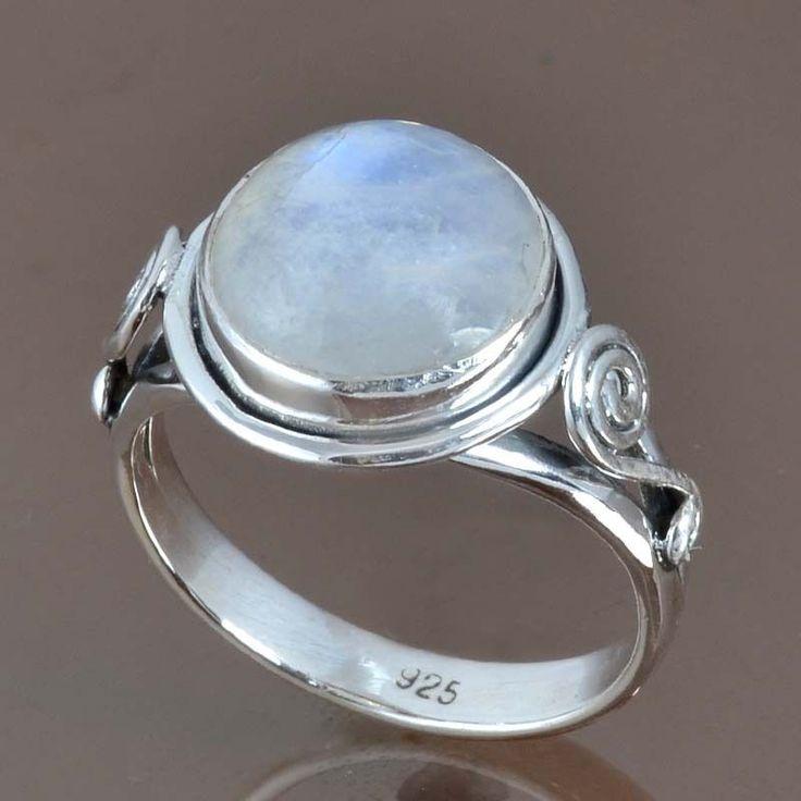 925 STERLING SILVER POPULAR RAINBOW MOONSTONE RING 5.13g DJR9054 SZ-9.5 #Handmade #Ring