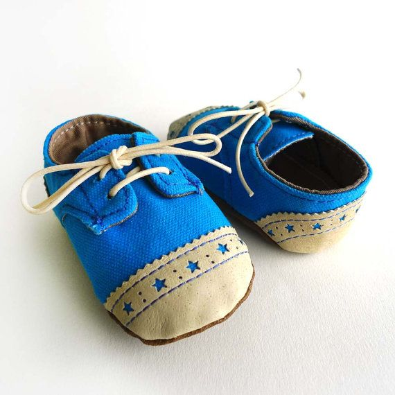 Baby Boy Shoes Blue Canvas with Brogued Leather Soft by ajalor