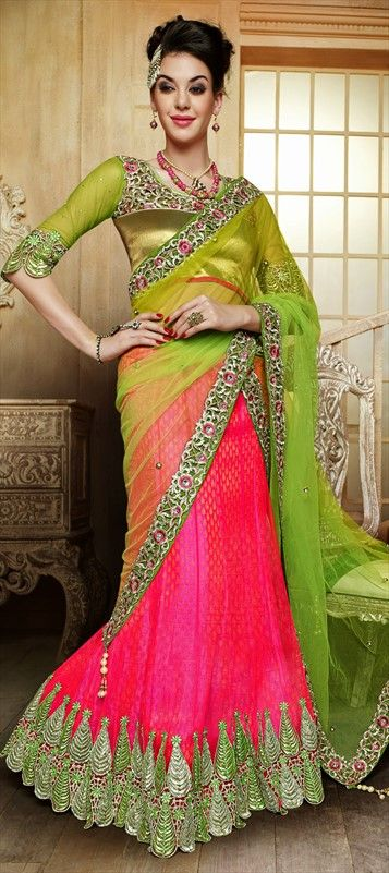 Wear SPRING colors on your wedding. Shop this neon colored #lehenga at flat 10% off.  #bridalwear #Indianwedding #colorblock #indianfashion #bride #onlineshopping #springsummer #ss15