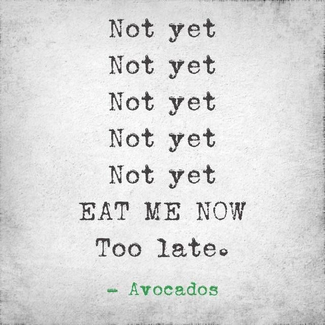 A helpful 'When to Eat Avocados' chart for you to pop on your fridge.