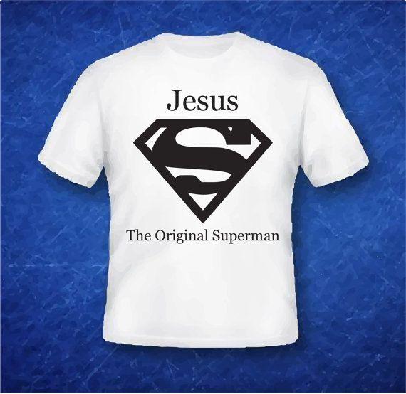Custom Printed Shirts, Religious laughing Jesus. Superman Super Jesus Catholic on Etsy, $12.99