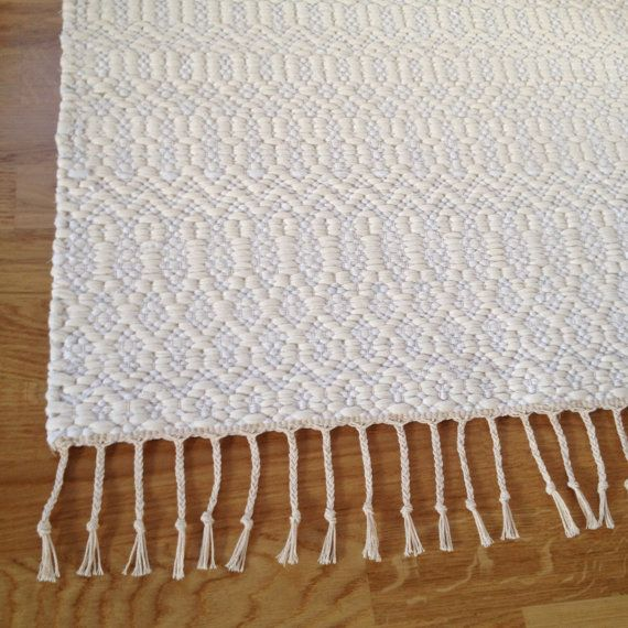 Modern rustic area rug. Ivory white cotton rug hand by MareMaa