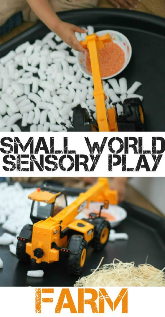 Small world sensory play with a farm themed sensory bin, using Tomy Big Farm toys, and lots of recycled materials