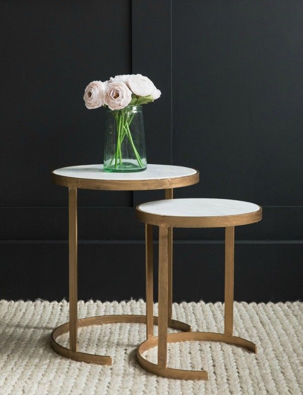 Cecily Tall Nesting Brass & Marble Side Tables