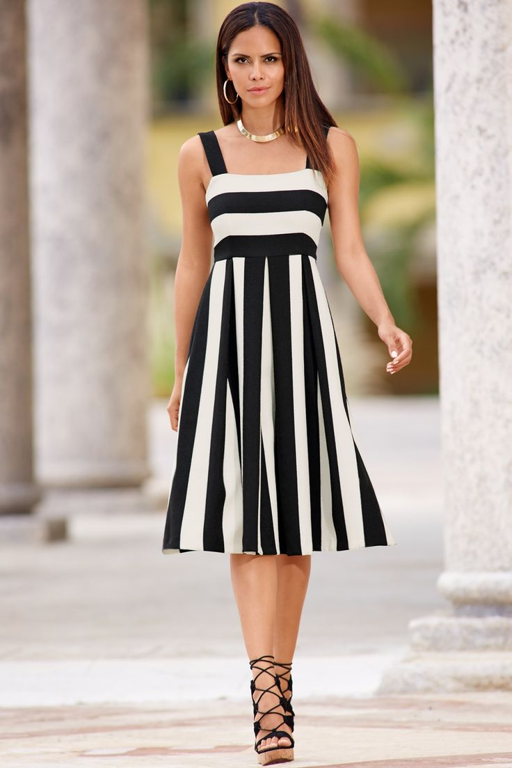 At the Knee Work Dress | Women's Black and White Wide Stripe Midi Dress.