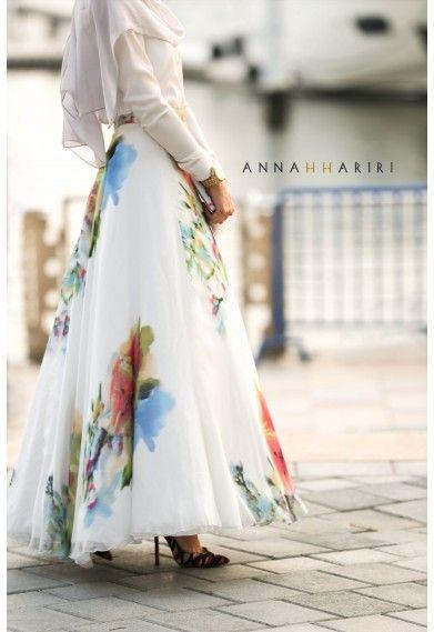 Silk Flower Dress | Inspiration for Hijab Fashion | Autumn - Winter
