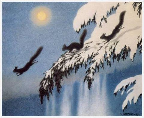 Theodor Severin Kittelsen - Squirrels in flight, 1905