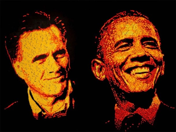 Cheetos Portrait Of Romney And Obama!!  Made entirely of Cheetos!