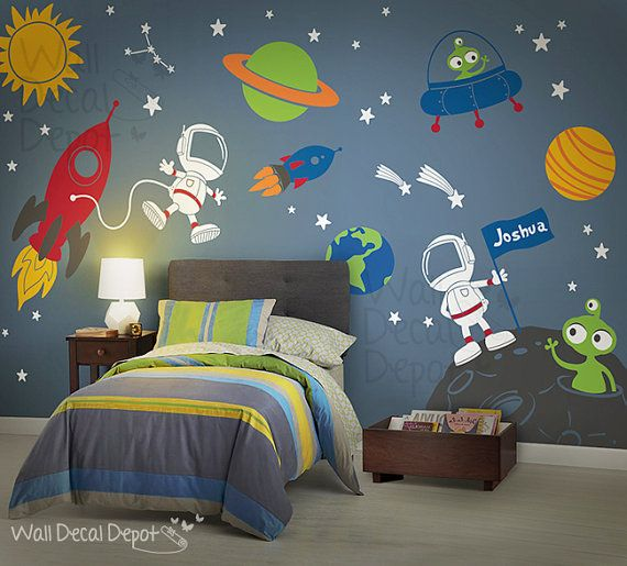 space wall decal planets astronaut boy galaxy by walldecaldepot