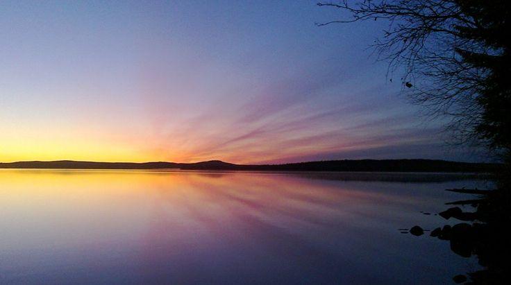 Midnight sun in Miekojarvi in Pello in Lapland