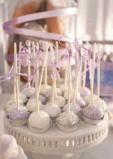cake pops for a lavender and silver candy station