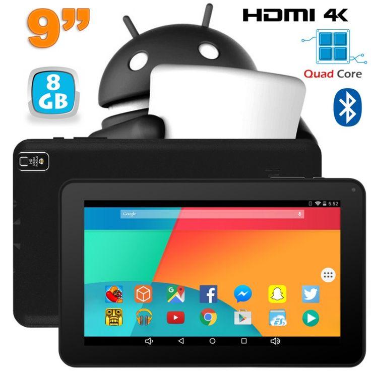 Tablette 9 pouces fonctionnant sous Android 6.0 Marshmallow et disposant d'un port Mini HDMI 4K. Elle est notamment équipée d'un processeur Quad Core cadencé à 1.5 GHz, d'une mémoire vive de 1Go, d'une connexion Bluetooth et d'un écran tactile capacitif. Mémoire interne 8 Go. Couleur : Noir