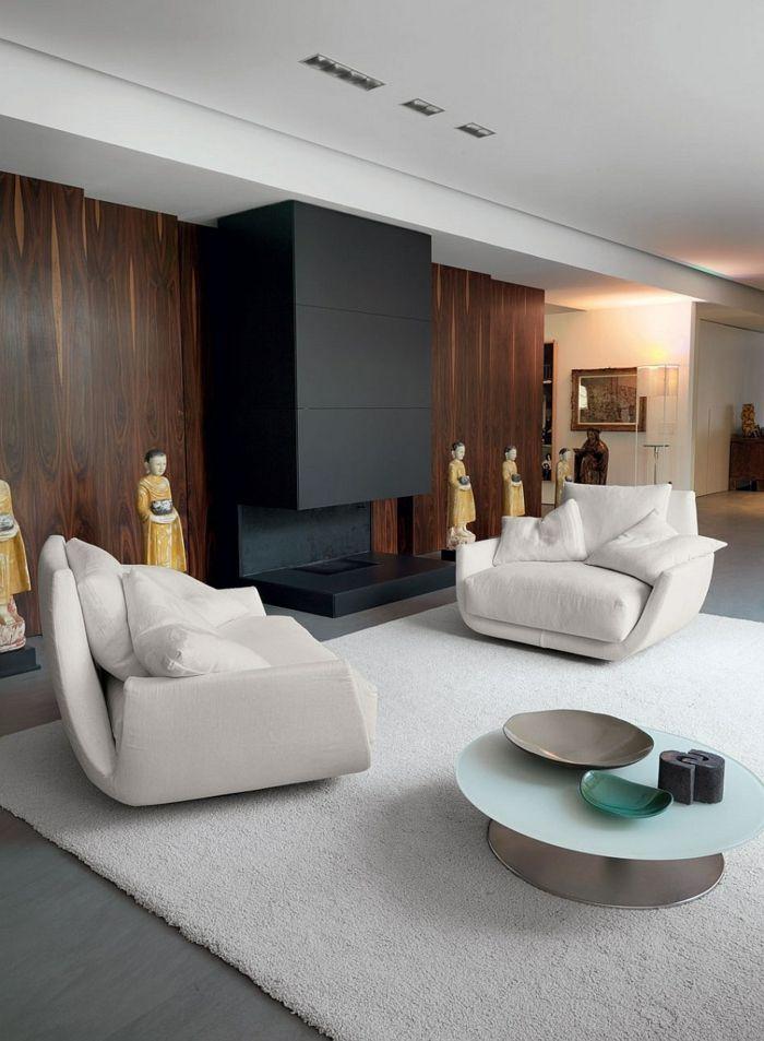 schöne sessel weiß wohnzimmer einrichten weißer teppich Teppich - designer teppiche moderne einrichtung