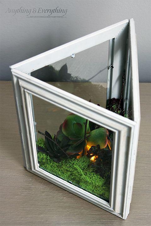 DIY Faux Succulent Garden using dollar store frames