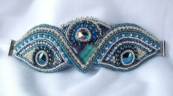 Carnival Bead Embroidery Bracelet OOAK Blue Silver by Vicus