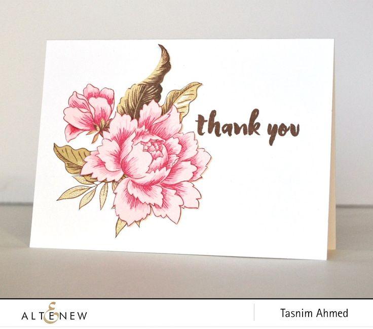 Altenew Peony Bouquet Thank You card