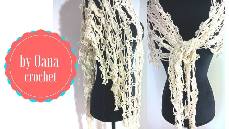 Crochet summer baktus scarf by Oana