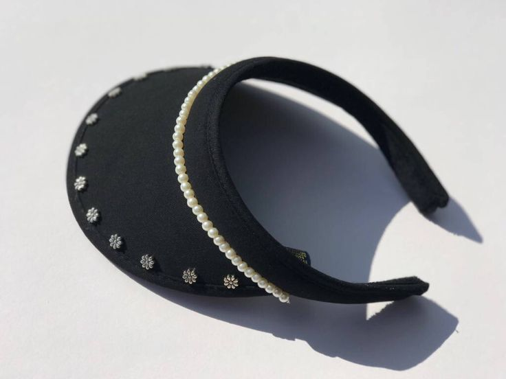 Women's golf visor with bling flowers and pearl beads //black and clip-on by GolfGlam on Etsy