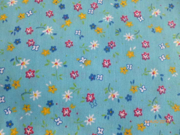 Blue Floral Print - Polycotton