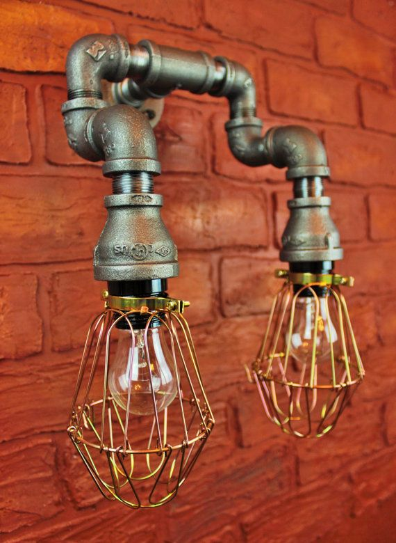 Pipe Lighting Brass Cages  / Wall Art, Steampunk & Industrial, Vintage Edison Light bulbs - Wall sconce light fixture, black pipe light