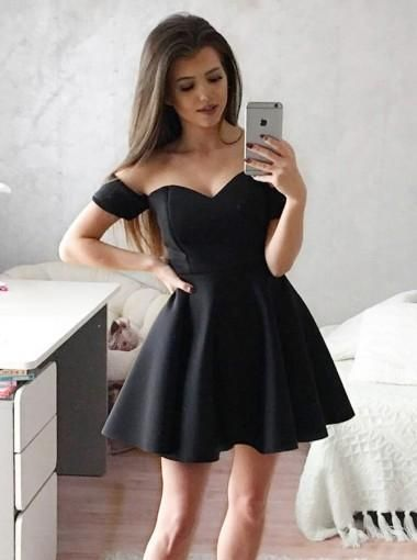 439e694294e Black Off Shoulder Short Sleeve Homecoming Dresses in 2019