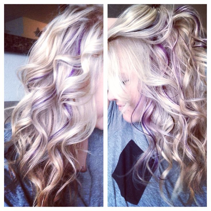 """Hidden"" purple panels I got today:) #hair #purple #lilac #violet #blonde #panels #peekaboostreaks"